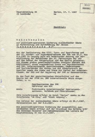 Maßnahmeplan zur Sicherung ausländischer Gäste beim VIII. Turn- und Sportfest in Leipzig 1987