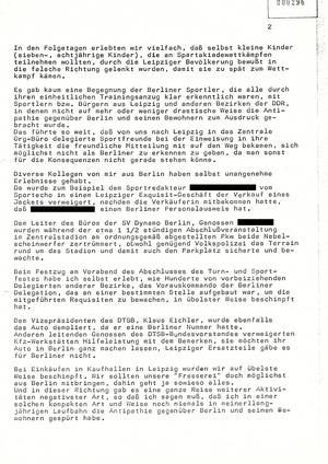 Bericht eines Informanten über das VIII. Turn- und Sportfest in Leipzig 1987