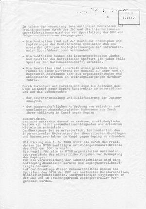Information zur Doping-Problematik im Leistungssport der DDR