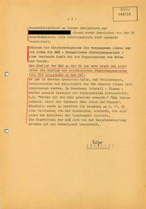 Bericht über Diskussionen über den Ungarischen Volksaufstand an der TH Dresden