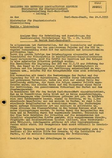 Analyse zum Volksaufstand im Bezirk Karl-Marx-Stadt