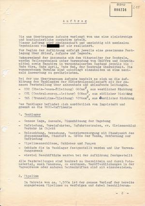 """Auftrag an IM """"Jupp"""" und IM """"Luise"""" zur Erkundung derCentral European Line"""