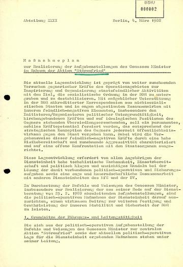 """Maßnahmeplan zur Realisierung der Aufgabenstellungen Mielkes im Rahmen der Aktion """"Störenfried"""""""