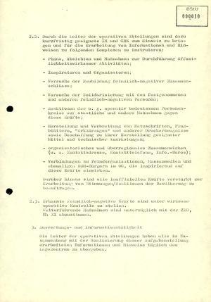 Maßnahmeplan zur Aufklärung und Unterbindung von Aktivitäten feindlich-negativer Kräfte