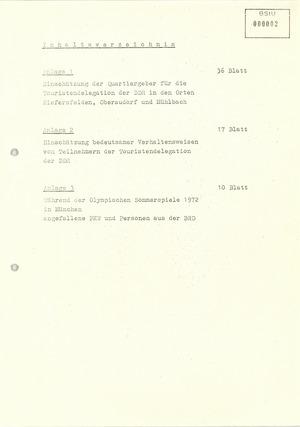 Zusammenstellung operativ bedeutsamer Anhaltspunkte in Auswertung der Berichte über den Einsatz der IM/GMS bei den Olympischen Sommerspielen 1972 in München
