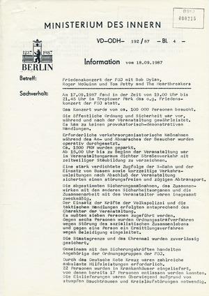 Rapport des MdI nach dem Konzert von Bob Dylan in Ost-Berlin