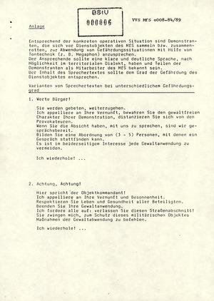 Anweisung von Mielke zur Sicherung der Dienstobjekte der Bezirksverwaltungen, Kreisdienststellen und Objektdienststellen