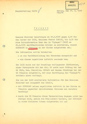 Auftrag Mielkes, Informationen über Wolf Biermanns Auftritt in Prenzlau zu erarbeiten