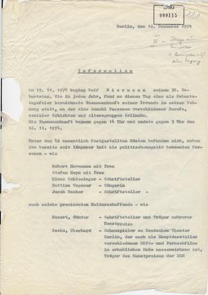 Bericht über eine Feier zu Wolf Biermanns 38. Geburtstag in seiner Wohnung