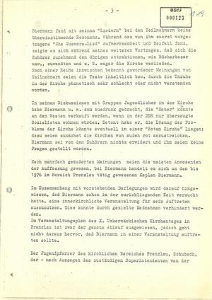 Bericht über Wolf Biermanns Auftritt in der Prenzlauer Nikolaikirche am 11. September 1976