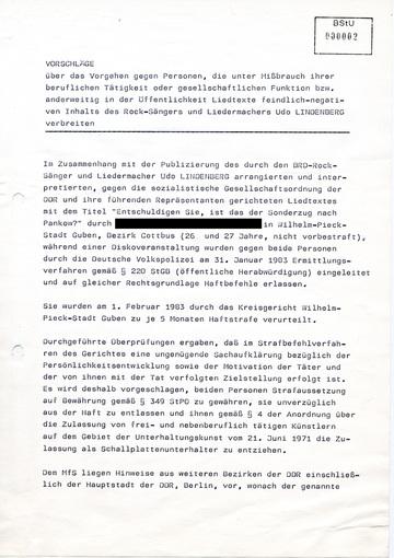 """Vorschläge zur Bestrafung von Personen, die Udo Lindenbergs Lied """"Sonderzug nach Pankow"""" in der Öffentlichkeit wiedergeben"""