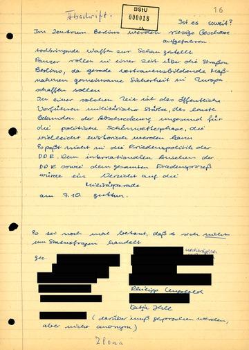 """Bericht des IM """"Ilona"""" zu den Aushängen in der Carl-von-Ossietzky-Schule"""
