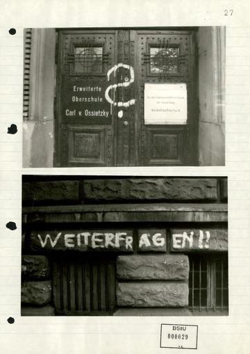 Fotos von Parolen an der Carl-von-Ossietzky-Schule