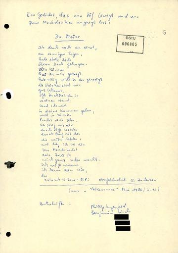 """Gedicht eines Soldaten der Nationalen Volksarmee (NVA) am """"Speaker's Corner"""" der Carl-von-Ossietzky-Schule"""