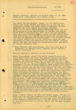 Stasi-Aufzeichnung der Rede eines Brigadiers in Torgelow während des Volksaufstandes