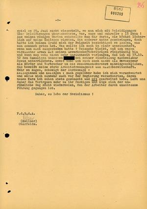 Stasi-Aufzeichnung der Stellungnahme eines Brigadiers zu einer Rede, die er in Torgelow während des Volksauftsandes hielt