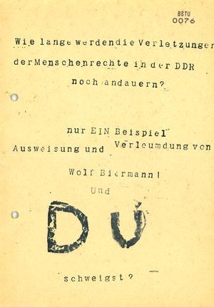"""Flugblatt """"Wie lang werden die Menschenrechtsverletzungen in der DDR noch andauern?"""""""