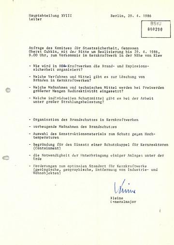 Anfrage des KGB zu Sicherheitsvorkehrungen in DDR-Kernkraftwerken