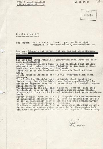 """Bericht eines Abschnittsbevollmächtigten über die RAF-Terroristin Monika Helbing alias """"Elke Winter"""""""