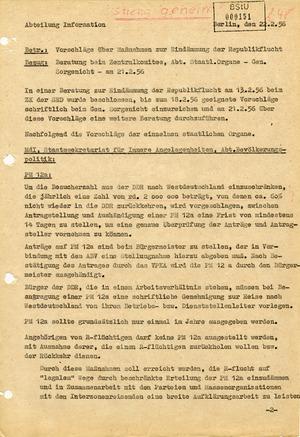 Vorschläge über Maßnahmen zur Bekämpfung der Republikflucht von 1956