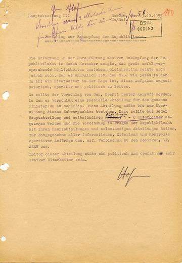 Vorschlag zur Bekämpfung der Republikflucht aus dem Jahr 1955