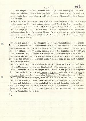 Kritische Reaktionen von SED-Mitgliedern, auf die Umsetzung der KSZE-Beschlüsse von Helsinki
