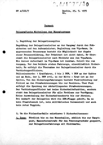 Ablauf des Besuches der DDR-Delegation zur Unterzeichnung der KSZE-Schlussakte in Helsinki