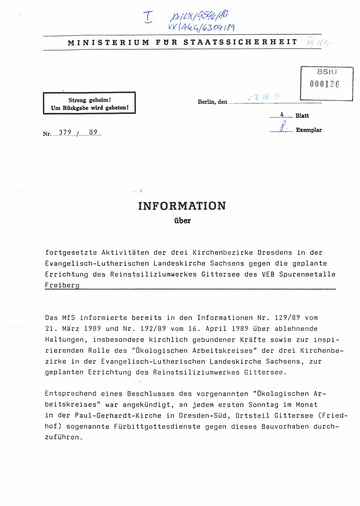 Information über fortgesetzte Aktivitäten der drei Kirchenbezirke Dresdens in der Evangelisch- Lutherischen Landeskirche Sachsens gegen die geplante Errichtung des Reinstsiliziumwerkes Gittersee