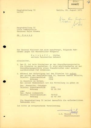 Anweisung des Ministers für Staatssicherheit Ulrike Meinhof bei einem Einreiseversuch in die DDR zu verhören