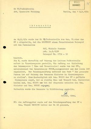 Aktennotiz zur versuchten Einreise von Ulrike Meinhof in die DDR unter dem Namen Michèle Susanne Ray