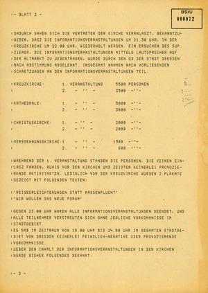 Fernschreiben von Böhm, Leiter der BVfS Dresden, an die MfS-Zentrale zu den Ereignissen in Dresden am 9. Oktober 1989