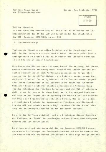 Zusammenfassung der Reaktionen der DDR-Bevölkerung auf den Besuch von Erich Honecker in der BRD