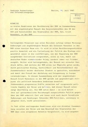 Erste Reaktionen der DDR-Bevölkerung auf den Honecker-Besuch in der BRD