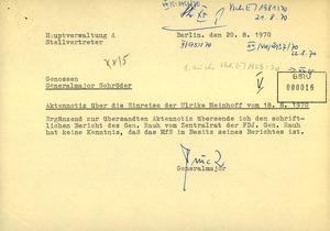 Aktennotiz über die versuchte Einreise Ulrike Meinhofs in die DDR unter dem Namen Michèle Susanne