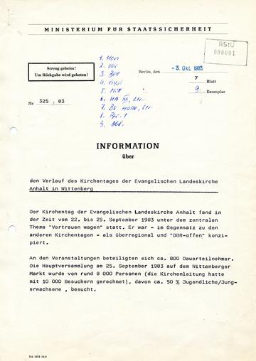 Information über den Verlauf des Kirchentages in Wittenberg 1983