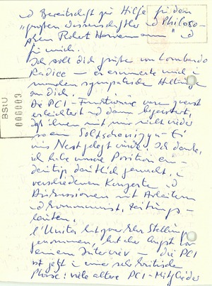 Brief von Wolf Biermann an Robert Havemann
