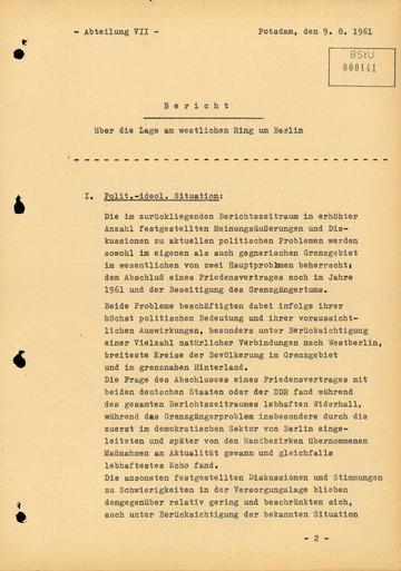 Bericht über die Situation an der Grenze zu West-Berlin im Juli 1961