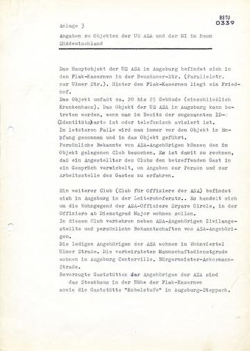 Angaben zu Objekten der US ASA und der MI im Raum Süddeutschland
