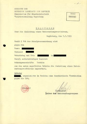 Einleitung des Untersuchungsverfahrens zur LPG-Auflösung in Trabitz