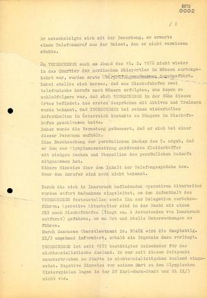 Information über das Verlassen der DDR-Olympiamannschaft durch Klaus Tuchscherer