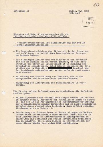 """IM """"Werner Stein"""" - Ein Informant mit hoher """"Treffdiziplin"""""""