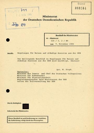 Regelungen für Reisen und ständige Ausreise aus der DDR vom 9. November 1989
