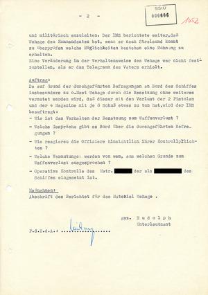 Bericht eines IMS über den Obermaat Wehage