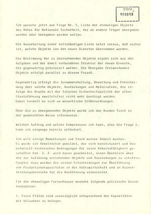 Bericht des Regierungsbeauftragten Peter Koch am Zentralen Runden Tisch