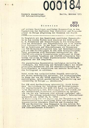 Auswertung westdeutscher Medienberichte über die Umsetzung der KSZE-Beschlüsse in der DDR