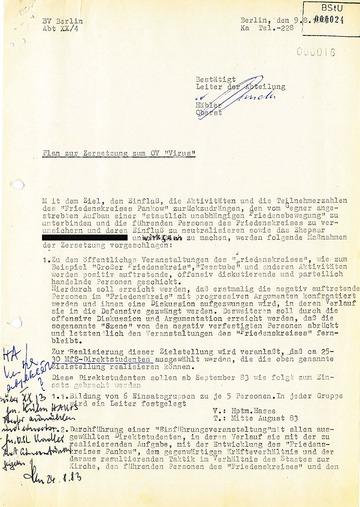 """Zersetzungsmaßnahmen gegen den """"Friedenskreis Pankow"""""""