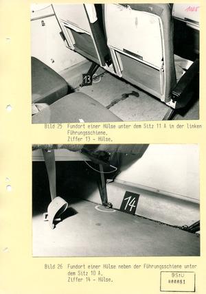 Kriminaltechnische Bilddokumentation zur versuchten Flugzeugentführung des Ehepaars Wehage