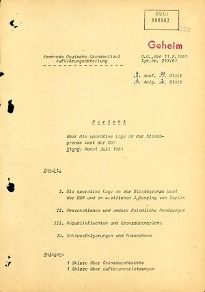 Bericht über die Situation an der Grenze der DDR zur Bundesrepublik im Juli 1961
