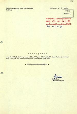Sicherungskonzeption für das Stasi-Krankenhaus Berlin-Buch