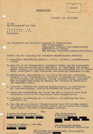 Brief der Streikenden aus den Dresdner Industriebetrieben mit ihren Forderungen an die Regierung der DDR
